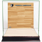 Minnesota Timberwolves Logo On Court Background Glass Basketball Display Case