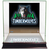 Minnesota Timberwolves Logo Background Glass Basketball Display Case