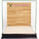 Milwaukee Bucks Logo On Court Background Glass Basketball Display Case