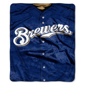 "Milwaukee Brewers 50""x60"" Royal Plush Raschel Throw Blanket - Jersey Design"