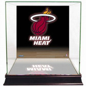 Miami Heat Logo Background Glass Basketball Display Case