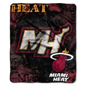 "Miami Heat 50""x60"" Royal Plush Raschel Throw Blanket - Drop Down Design"