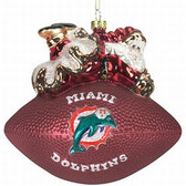 "Miami Dolphins 5 1/2"" Peggy Abrams Glass Football Ornament"