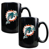Miami Dolphins 2pc Black Ceramic Mug Set - Primary Logo