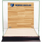 Memphis Grizzlies Logo On Court Background Glass Basketball Display Case