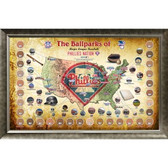 Major League Baseball Parks Map 20x32 Framed Collage w/ Game Used Dirt From 30 Parks - Phillies Version