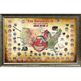 Major League Baseball Parks Map 20x32 Framed Collage w/ Game Used Dirt From 30 Parks - Indians Version