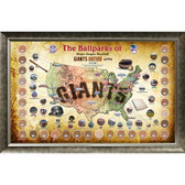 Major League Baseball Parks Map 20x32 Framed Collage w/ Game Used Dirt From 30 Parks - Giants Version