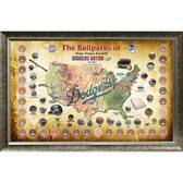 Major League Baseball Parks Map 20x32 Framed Collage w/ Game Used Dirt From 30 Parks - Dodgers Version