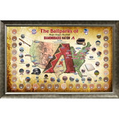 Major League Baseball Parks Map 20x32 Framed Collage w/ Game Used Dirt From 30 Parks - D-Backs Version