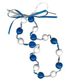 Lucky Kukui Nuts Necklace - Royal/White