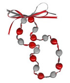 Lucky Kukui Nuts Necklace - Red/Silver