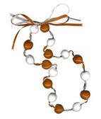 Lucky Kukui Nuts Necklace - Orange/White