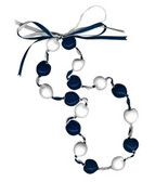 Lucky Kukui Nuts Necklace - Navy/White