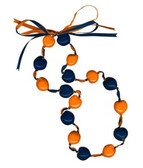 Lucky Kukui Nuts Necklace - Navy/Orange