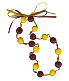 Lucky Kukui Nuts Necklace - Burgundy/Gold
