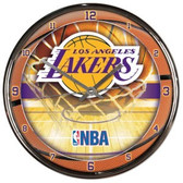 Los Angeles Lakers Round Chrome Wall Clock