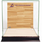 Los Angeles Lakers Logo On Court Background Glass Basketball Display Case