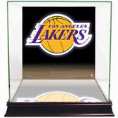 Los Angeles Lakers Logo Background Glass Basketball Display Case