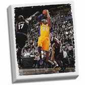 Los Angeles Lakers Kobe Bryant Fade-Away Jump Shot Stretched 32x40 Canvas