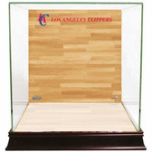 Los Angeles Clippers Logo On Court Background Glass Basketball Display Case
