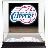 Los Angeles Clippers Logo Background Glass Basketball Display Case