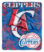 "Los Angeles Clippers 50""x60"" Royal Plush Raschel Throw Blanket - Drop Down Design"
