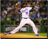 Kansas City Royals 40x50 Stretched Canvas Yordano Ventura Game 6 of the 2014 World Series Action