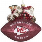 "Kansas City Chiefs 5 1/2"" Peggy Abrams Glass Football Ornament"