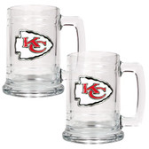 Kansas City Chiefs 2pc Glass Tankard Set