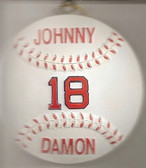 Johnny Damon Boston Red Sox Baseball Christmas Ornament