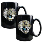 Jacksonville Jaguars 2pc Black Ceramic Mug Set - Primary Logo