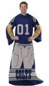 Indianapolis Colts Comfy Throw Blanket With Sleeves - Player Design