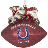 "Indianapolis Colts 5 1/2"" Peggy Abrams Glass Football Ornament"