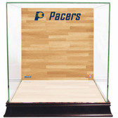 Indiana Pacers Logo On Court Background Glass Basketball Display Case