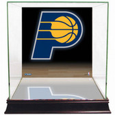 Indiana Pacers Logo Background Glass Basketball Display Case