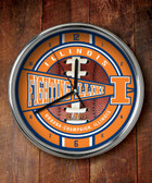 Illinois Fighting Illini Chrome Clock