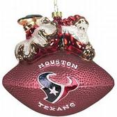 "Houston Texans 5 1/2"" Peggy Abrams Glass Football Ornament"
