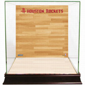 Houston Rockets Logo On Court Background Glass Basketball Display Case