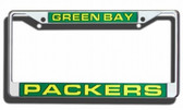 Green Bay Packers Laser Cut Chrome License Plate Frame