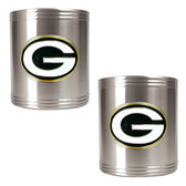 Green Bay Packers 2pc Stainless Steel Can Holder Set
