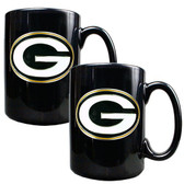 Green Bay Packers 2pc Black Ceramic Mug Set - Primary Logo