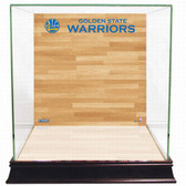 Golden State Warriors Logo On Court Background Glass Basketball Display Case