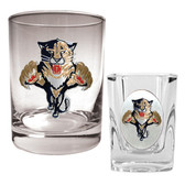 Florida Panthers Rocks Glass & Square Shot Glass Set - Primary Logo