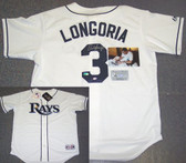 Evan Longoria Hand Signed Rays Authentic White Jersey