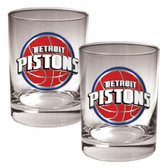 Detroit Pistons Rocks Glass Set