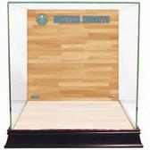 Denver Nuggets Logo On Court Background Glass Basketball Display Case