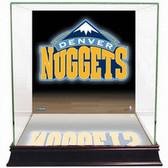 Denver Nuggets Logo Background Glass Basketball Display Case