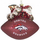 """Denver Broncos 5 1/2"""" Peggy Abrams Glass Football Ornament"""