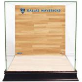 Dallas Mavericks Logo On Court Background Glass Basketball Display Case